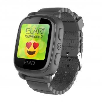 Дитячі розумні годинник ELARI KidPhone 2 Black GPS (KP-2B) UA