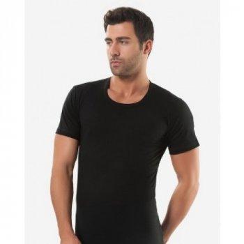 Чоловіча футболка Oztas 1037-A чорна 100% бавовна кулір
