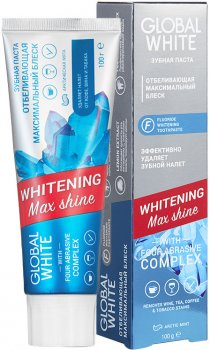 Зубная паста Global White Отбеливающая Максимальный блеск Whitening Max shine 100 г (2021012512314)