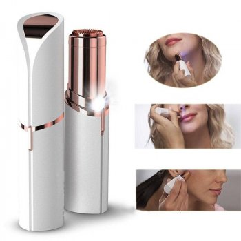 Эпилятор для лица женский карманный Sunroz Flawless White аккумуляторный мини в форме помады LED подсветка (46673)