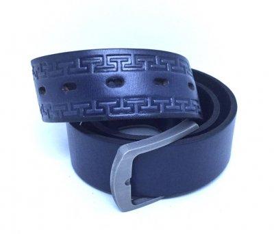 Мужской ремень кожаный Masco 1038 108 см Темно-синий