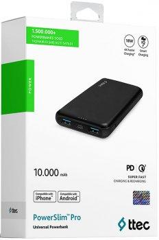 УМБ Ttec PowerSlim Pro PD/QC 3.0 10000 mAh Black (2BB167S)