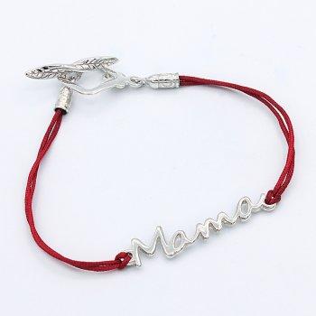 Серебряный браслет Мама с красной нитью