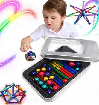 Магнитный конструктор Неокуб разноцветные шарики с палочками Neocube антистресс в коробке.