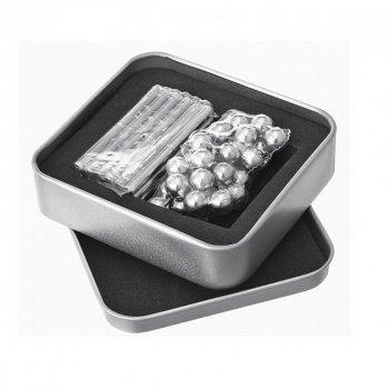 Магнитный конструктор Неокуб шарики с палочками серебро Neocube антистресс в коробке.
