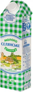 Упаковка молока ультрапастеризованного Селянське Особливе 1.5% 950 г х 12 шт (4820003485811)