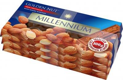 Упаковка шоколада Millennium молочного с цельным миндалем 3 шт х 100 г (4820005194131)