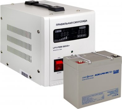 Комплект резервного живлення для котла LogicPower 500 + мультигелева батарея 720 ватів (LP14021)