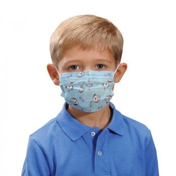 Детская медицинская маска Волес трёхслойная для индивидуальной защиты (голубая) 50 шт
