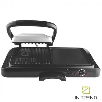 Електричний Гриль DSP KB1050 2в1 1600W професійний притискної контактний електро-гриль з антипригарним покриттям для приготування м'яса, овочів і риби від мережі, Чорний