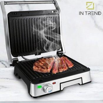 Электрический Гриль DSP KB1045 1800W от сети - электро-гриль с антипригарным покрытием + поддон для сборки жира со съемными противенями прижимной для приготовления мяса овощей и рыбы, Серебристый