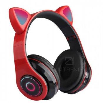 Беспроводные наушники детские складние Wireless headphones Cat ear CXT-B39 c Bluetooth гарнитурой 5.0 MicroSD до 32 Гб с кошачьими ушками и LED подсветкой / Красный