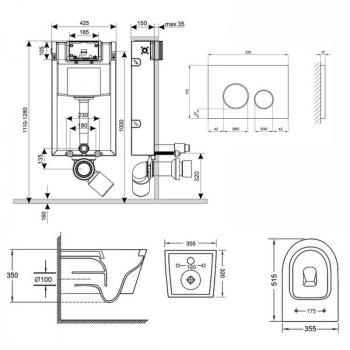 Набір Qtap інсталяція 3 в 1 Nest QT0133M425 з панеллю змиву круглої QT0111M11112CRM + унітаз з сидінням Swan QT16335178W