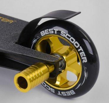 Самокат трюковий з алюмінієвими колесами 2 пеги в комплекті Best Scooter золотий (DIMSA-029-1N), Чорний з золотим