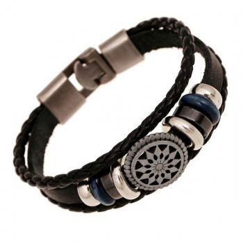 Кожаный браслет Греческий DiaDemaGrand Черный с серебряным (111722-19-15)