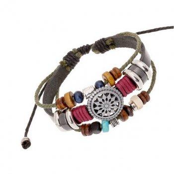 Кожаный браслет Металлическое солнце DiaDemaGrand Коричневый с разноцветным (01152968-9-13)