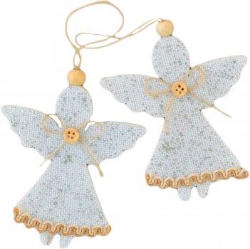 """Набір ялинкових іграшок Новогодько (YES! Fun) Підвіски """"Ангелочки"""", декоровані сріблом, 2 шт. (973471) (5056137157938)"""