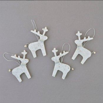 """Набір ялинкових іграшок Новогодько (YES! Fun) Підвіски """"Олені"""", декоровані сріблом, 4 шт. (973467) (5056137157891)"""