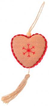 """Елочная игрушка Новогодько (YES! Fun) """"Сердечко"""", светло-коричневая, h-16 см (973486) (5056137158089)"""