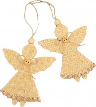 """Набір ялинкових іграшок Новогодько (YES! Fun) Підвіски """"Ангелочки"""", декоровані золотом, 2 шт. (973472) (5056137157945)"""