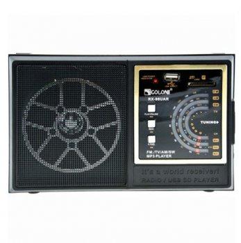 Аккумуляторный портативный радиоприёмник Golon RX-98 (UAR) USB/SD/FM переносная радио колонка Black (LY709)