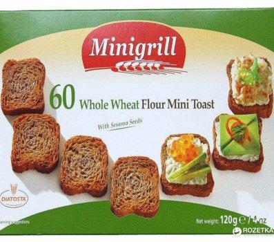 Упаковка тостов Diatosta Minigrill Пшеничные цельнозерновые 120 г х 4 шт (5601560111899)