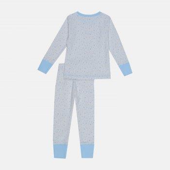 Пижама (футболка с длинными рукавами + штаны) Фламинго 257-1007 Белый/Голубой