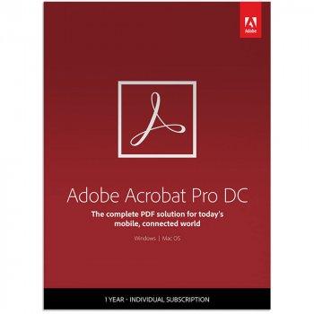 Adobe Acrobat Pro DC for teams. Подовження ліцензії для комерційних організацій і приватних користувачів, річна передплата на одного користувача в межах замовлення від 10 до 49 (65297928BA02A12)