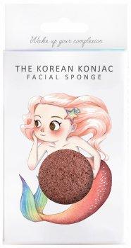 Спонж для особи Konjac sponge з конжаку і червоною глиною в коробці з гачком (міфічна русалка)