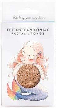 Спонж для особи Konjac sponge з конжаку і рожевою глиною в коробці з гачком (міфічна русалка)