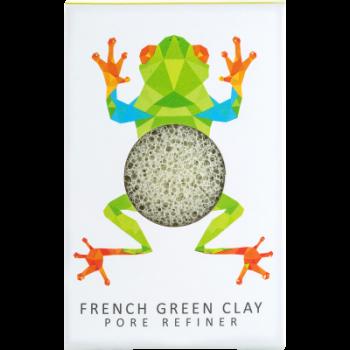 Спонж для особи Konjac sponge з чистого конжаку і зеленою глиною маленький (тропічний жабеня)