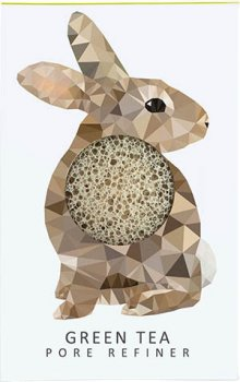 Спонж для особи Konjac sponge з конжаку і зеленим чаєм маленький (лісовий кролик)