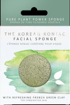 Спонж для особи Konjac sponge з конжаук і зеленою глиною преміум (в коробці)