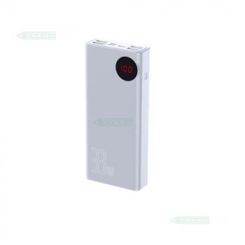 УМБ Повербанк для телефону Baseus Mulight 33W з підтримкою QC3.0 і PD3.0 Ємність 30000mAh White Портативне універсальний зарядний пристрій для смартфона гаджетів Портативна зовнішня батарея (24019)