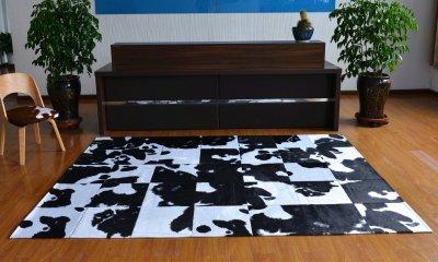 Килим з шматків шкур корови мозайка Homytex Чорно-білий