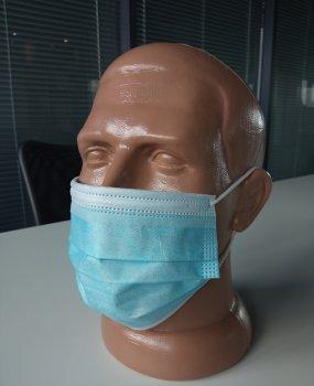 Медицинская защитная маска нестерильная ДОПОМОГА-І Medicare с резиновыми петлями 50 шт Бело-голубые (ME)