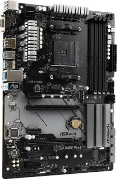 Мат. плата MB AsRock B450 PRO4 (B450/sAM4/4xDDR4 3200(OC)/2хРСІе x16/4хРСІе x1/2x M. 2 Socket 3/6xSATA3/RAID 0,1,10/GLan/DP, D-Sub, HDMI, 2xUSB2.0, 5xUSB3.1, USB3.1 Type-C/Audio 7.1 Ch/ATX)