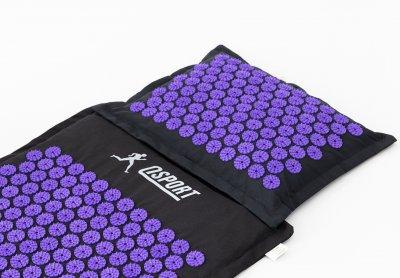 Набір Аплікатор Кузнєцова Пранамат масажний килимок і подушка масажер для спини OSPORT Pranamat Чорно-фіолетовий (apl-777)