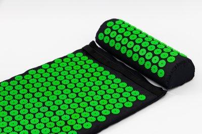 Набір Аплікатор Кузнєцова масажний акупунктурний килимок + подушка масажер для спини/ніг OSPORT Pro (n-0006) Чорно-салатовий