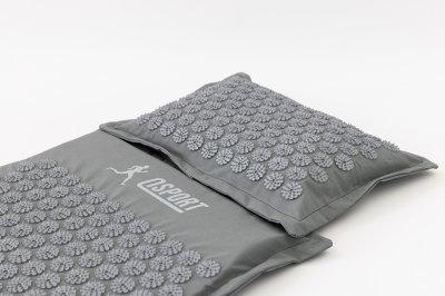 Масажний килимок і подушка (аплікатор Кузнєцова) масажер для спини/голови/ніг/тіла OSPORT Premium (apl-777) Сіро-сірий