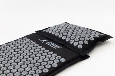 Масажний килимок і подушка (аплікатор Кузнєцова) масажер для спини/голови/ніг/тіла OSPORT Premium (apl-777) Чорно-сірий