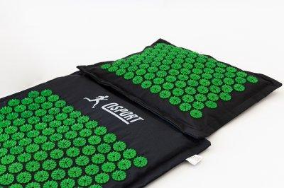 Массажный коврик и подушка (аппликатор Кузнецова) массажер для спины/головы/ног/тела OSPORT Premium (apl-777) Черно-зеленый