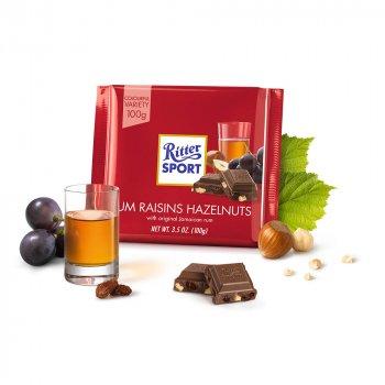 Молочный шоколад орех-изюм-ром Ritter Sport Rum Raisins Hazelnuts 100г (00-00000115)