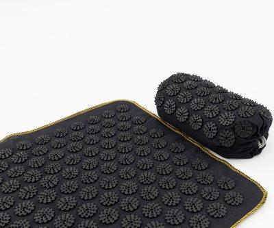 Масажний килимок + валик (аплікатор Кузнєцова) масажер для спини/голови/ніг OSPORT Lite ECO 145 (apl-028) Чорно-чорний