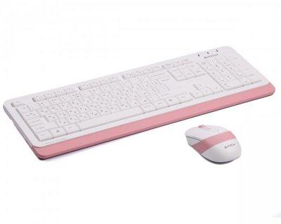 Комплект (клавіатура, миша) бездротовий A4Tech FG1010 White/Pink USB
