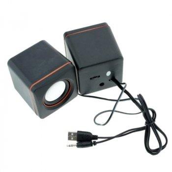 Колонки для компьютера и ноутбука Speaker D-02A компьютерная акустика на 5 Вт питание от USB регулятор громкости (44401)