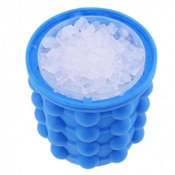 Портативная форма для льда из силикона ICE CUBE MAKER Ёмкость для изготовление льда - охлаждение напитков Синий