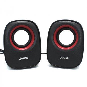 Колонки для комп'ютера і ноутбука JEDEL JD-M600 комп'ютерна акустика на 6 Вт живлення від USB, регулятор гучності, Чорні з червоним (48055)