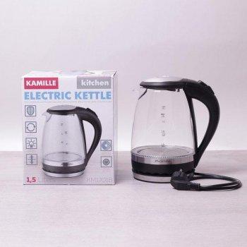 Електричний чайник з синім Led-підсвічуванням і сталевими декоративними вставками на 1,5 л Kamille a1701B