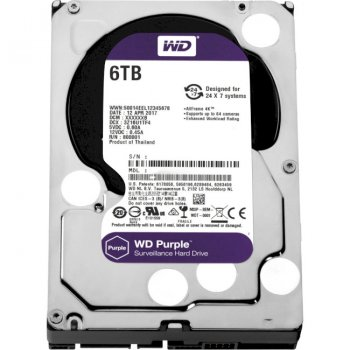 """Жесткий диск 3.5"""" 6Tb Western Digital Purple, SATA3, 128Mb, 5400 rpm (WD62PURZ)"""